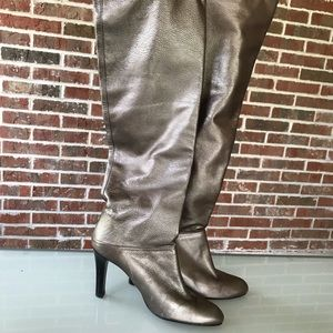 Stuart Weitzman Bronze Metallic Over Knee Boots